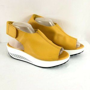 Womens Platform Sandals Faux Leather Slingback Ope